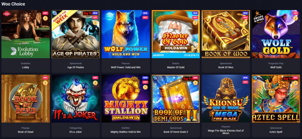 woo casino games catalog