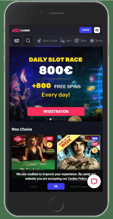 Mobile version of Woo Casino