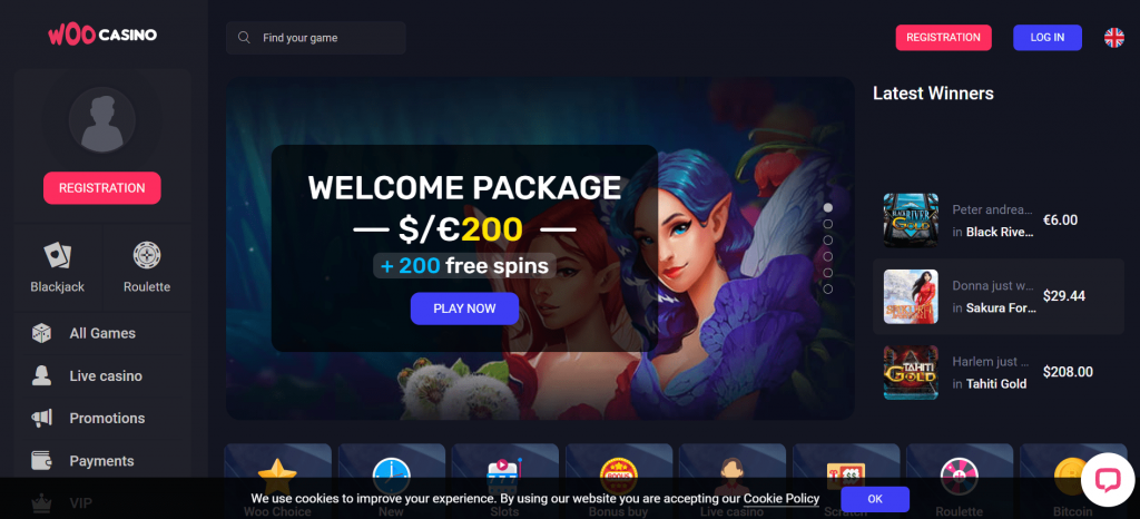 Official site of Woo Casino